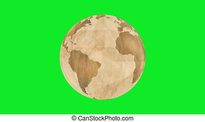 Brown Paper Earth Greenscreen - Animation of Planet Earth,...