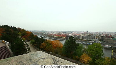 Panoramic View on Prague from high point on hill