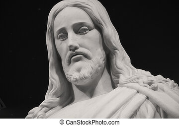 Christus-Dark Background - Close-up shot of a statue of...