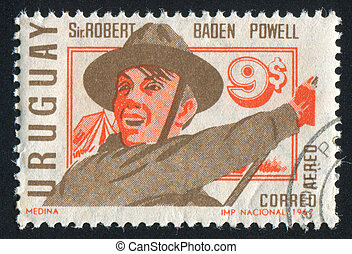 Boy Scout - URUGUAY - CIRCA 1968: stamp printed by Uruguay,...