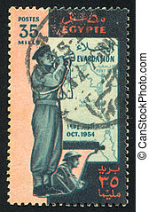 Man with trumpet - EGYPT - CIRCA 1954: stamp printed by...