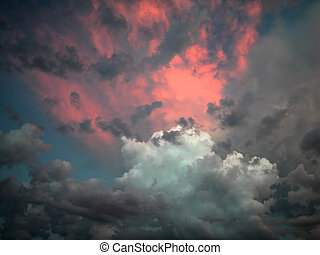 Pink and Grey Clouds - Stunning pink and gray storm clouds...