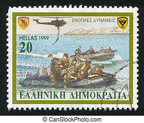 armed forces - GREECE - CIRCA 1999: stamp printed by Greece,...