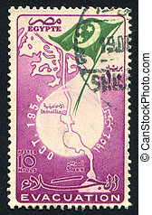 Map of Suez canal - EGYPT - CIRCA 1954: stamp printed by...