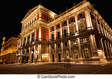 Austria, Vienna, concert hall, night look