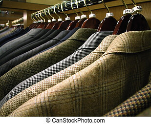 Sport Coats on Rack - A row of mens suits, jackets or sports...