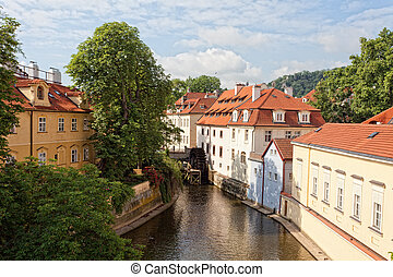 Prague, landscape with an ancient water-mill in the summer