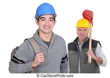 Smiling laborer with foreman on white background
