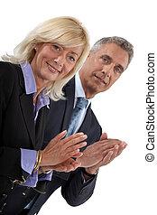 empresa / negocio, Profesionales, Aplaudir, su, Manos