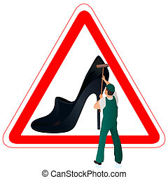 Man in green uniform cleaning the road sign with woman`s...