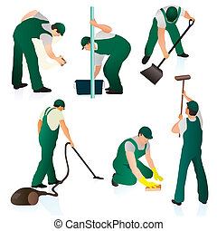 Set of six professional cleaners in green uniform
