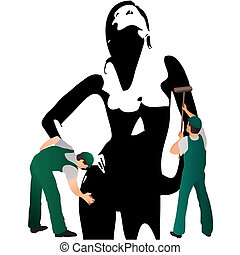 Two professional cleaners wiping woman`s silhouette