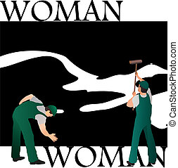Two professional cleaners wiping woman`s silhouette black...