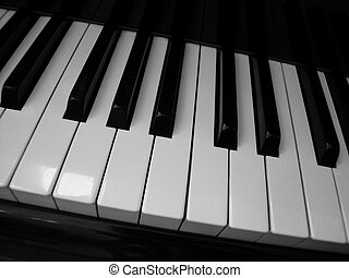 Slanted Piano Keys - Slanted shot of the black and white...