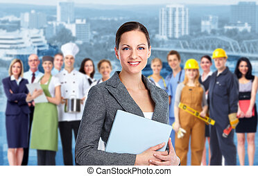 Business woman and Group of industrial workers - Smiling...