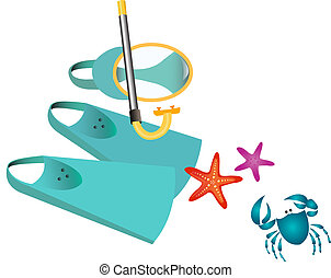 Snorkeling - Snorkelling gear vector illustration