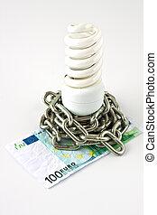 Energy saving lamp and money