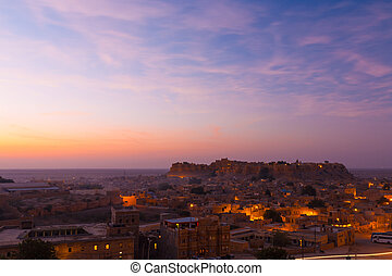 Jaisalmer Fort Sunrise Pink Clouds Houses H - Jaisalmer fort...