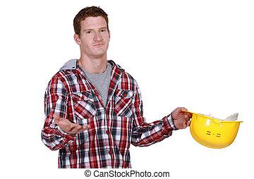 Displeased builder