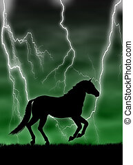 Horse in the storm