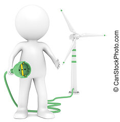 Windmill. - 3D little human character holding a Power Cable...