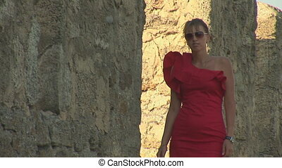 woman in red e
