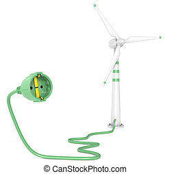 Wind Power. - A Single Wind Turbine connected to a Power...