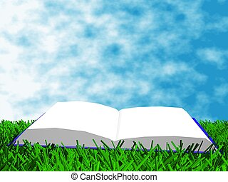 The book on the grass against a backdrop of sky - The book