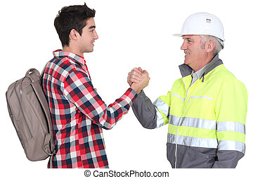 Young man agreeing to become an apprentice