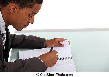 hombre de negocios, escritura, documento