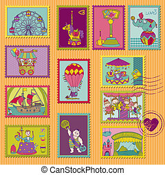 Funny Circus Postage Stamps - for design and scrapbook - in...