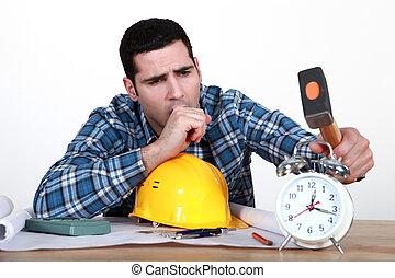 cansado, comerciante, sobre, choque, el suyo, alarma, reloj