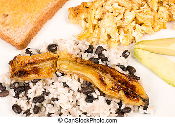 Gallo pinto breakfast - Traditional Central American...