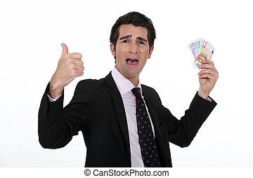 Rich businessman rejoicing