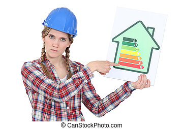 Stern tradeswoman giving a property an energy efficiency...