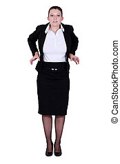 A businesswoman feeling tight