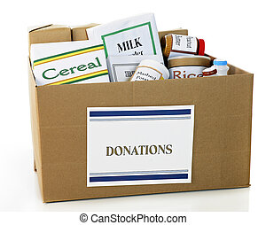 Food Donation Box - A corrugated carboard box with a...