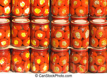 Canned peppers - Set of glass jars with canned pepper in...