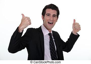 Portrait of a businessman rejoicing