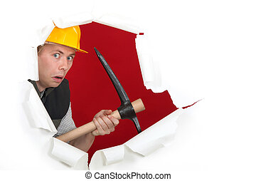 Worried man with ax
