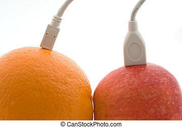 The orange and apple are connected through a cable 3