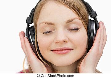 cierre, Arriba, mujer, auriculares