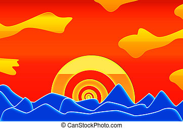 Caribbean sunset - Psychedelic coloured caribbean sunset in...