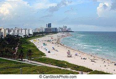 Miami Beach Beach - panoramic view of luxury hotels and...