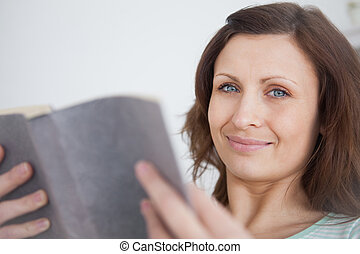 Woman holding a book