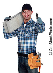 Builder carrying building block
