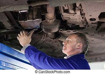 Mechanic repairing the below of a car