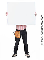 Man covering his face with a blank sign