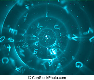 Capital letters in blue circles - Background of letters...