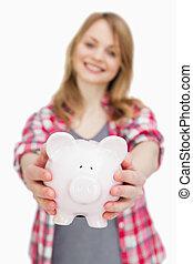 Focus on a piggy bank